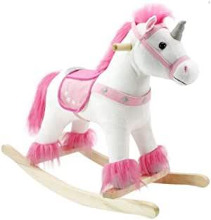 unicorn rocking horse pink and white